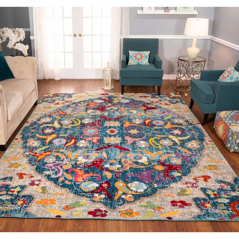 The Curated Nomad Rincon Distressed Multicolor Floral Rug