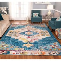 The Curated Nomad Rincon Distressed Blue Medallion Rug