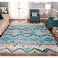 The Curated Nomad Rincon Tribal Distressed Blue/ Pink Rug