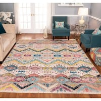 The Curated Nomad Rincon Geometric Distressed Ivory/ Purple Rug