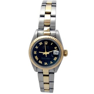Pre-owned 26mm Rolex 18k Yellow Gold and Stainless Steel Oyster Perpetual Datejust Watch with Black Dial - N/A - N/A