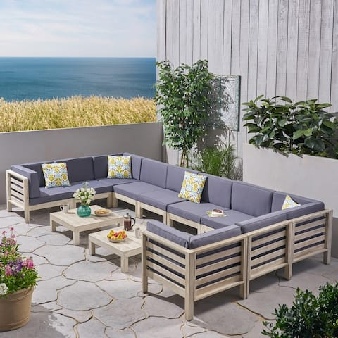 Oana Outdoor 10-Seater U-Shaped Acacia Wood Sectional Sofa Set with Coffee Tables by Christopher Knight Home