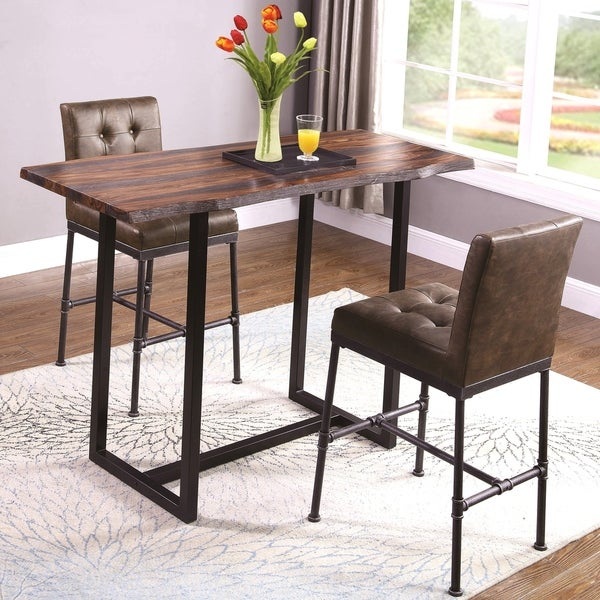 Rustic Design Live Edge Top 3-piece Bar Table Set with Button Tufted Stools