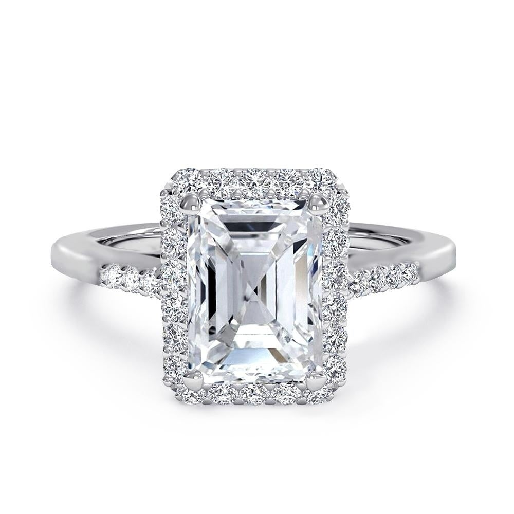 Shop Emerald Cut Cz Halo Solitaire Engagement Ring In Rhodium Plating Overstock 27185951