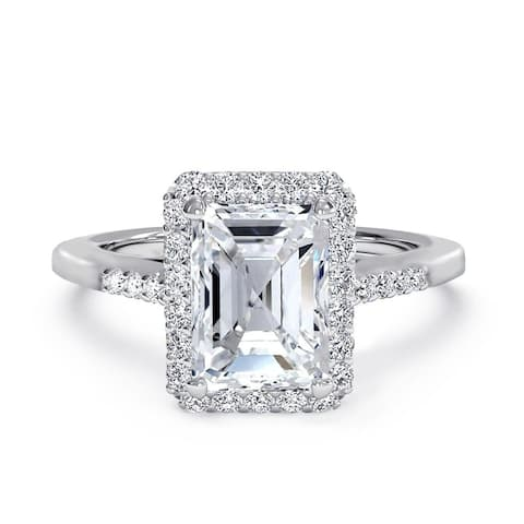 Emerald Cut CZ Halo Solitaire Engagement Ring in Rhodium Plating