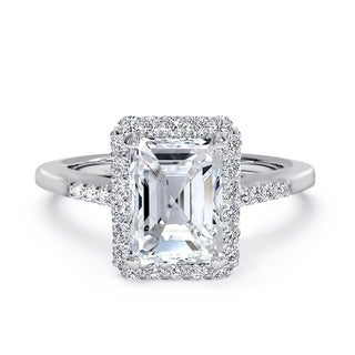 Link to Emerald Cut CZ Halo Solitaire Engagement Ring in Rhodium Plating Similar Items in Rings