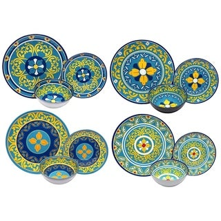 Melange 12-Pcs Melamine Dinnerware Set(Gardens of Italy Collection) Dinner Plate, Salad Plate & Soup Bowl(4 Each)