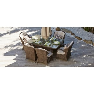 Moda Outdoor 7-piece Wicker Rectangle Dining Set with Eton Chair