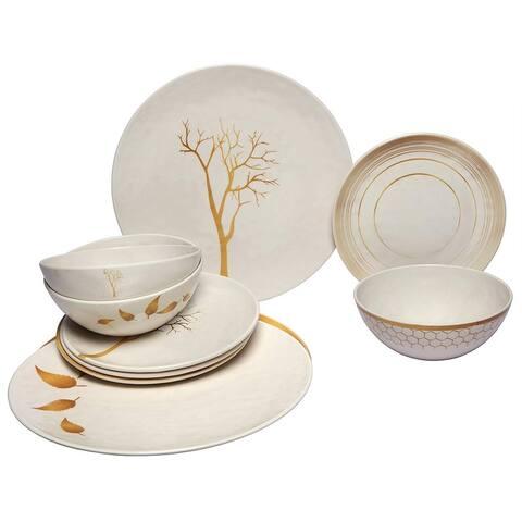 Melange 12-Pcs Melamine Dinnerware Set(Gold Nature Collection) Dinner Plate, Salad Plate & Soup Bowl(4 Each)