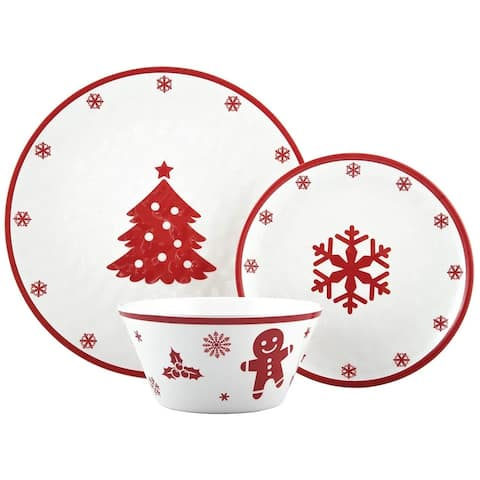 "Melange 12-Pcs Dinnerware Set for 4 Christmas Collection-Red Xmas Dinner Plate, Salad Plate & Soup Bowl(4 Each), 10.5"", White"