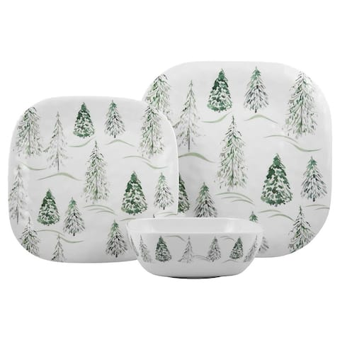 "Melange 12-Pcs Dinnerware Set for 4, Wild Xmas Trees Dinner Plate, Salad Plate & Soup Bowl(4 Each), 10.5"", White"