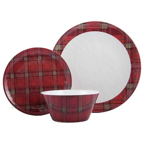 "Melange 12-Pcs Dinnerware Set for 4 Christmas Collection-Red Plaid Dinner Plate, Salad Plate & Soup Bowl(4 Each), 10.5"", White"