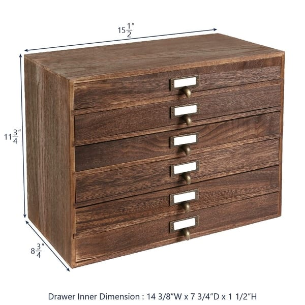 Ikee Design Wooden 6 Drawers Jewelry Storage Cabinet