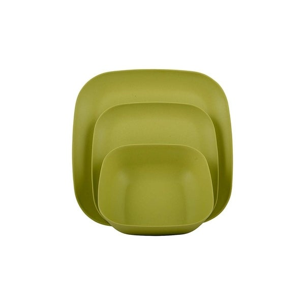   Shatter-Proof and Chip-Resistant Bamboo Salad Plates Color: Lime Green Melange 6-Piece Bamboo Salad Plate Set Rounds Collection