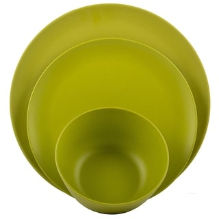 Melange 12-Pcs Bamboo Dinnerware Set(Rounds Collection), Color: Lime Green, Dinner Plate, Salad Plate & Soup Bowl(4 Each)