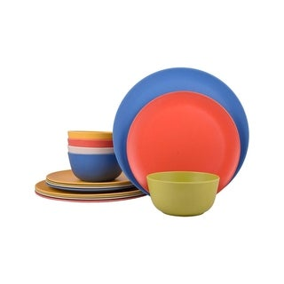 Melange 12-Pcs Bamboo Dinnerware Set(Rounds Collection), Color: Multicolor, Dinner Plate, Salad Plate & Soup Bowl(4 Each)