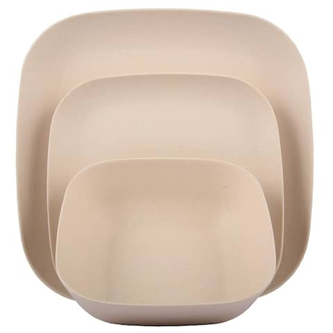 Melange 12-Pcs Bamboo Dinnerware Set(Squares Collection), Color: Natural Beige, Dinner Plate, Salad Plate & Soup Bowl(4 Each)
