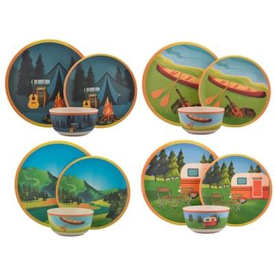 Melange 12-Pcs Bamboo Dinnerware Set(Campers Paradise),