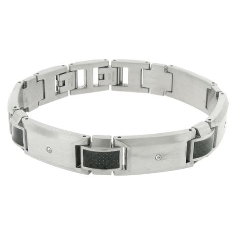 Stainless Steel Link Bracelet with Carbon Fiber and Cubic Zirconia
