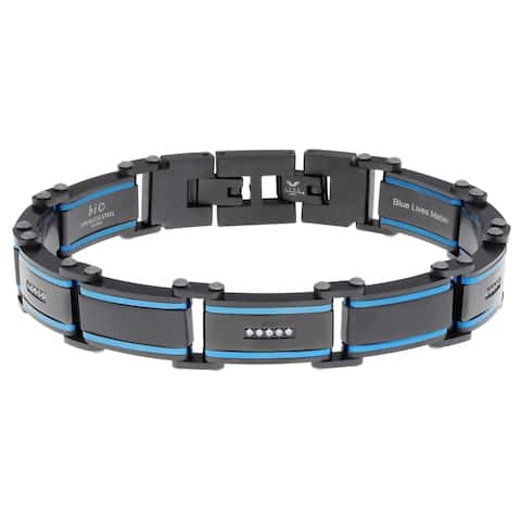 Stainless Steel Link Cubic Zirconia Bracelet with Black and Blue Ion Plating