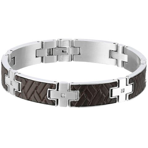 Stainless Steel Link Bracelet with Leather and Cubic Zirconia