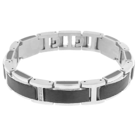 Stainless Steel Cubic Zirconia Link Bracelet with Black Ion Plating and Black Resin