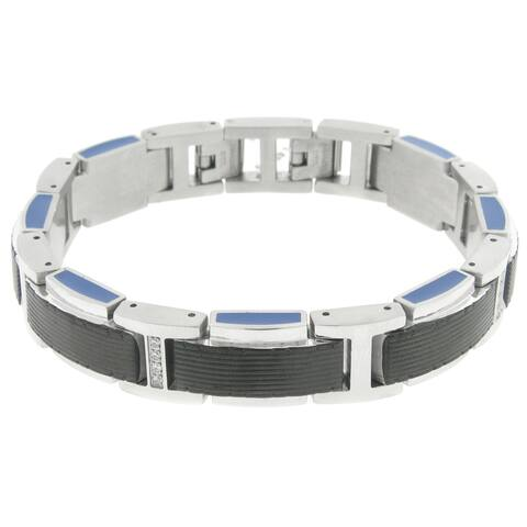 Stainless Steel Cubic Zirconia Link Bracelet with Black Ion Plating and Blue Resin
