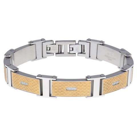 Stainless Steel Textured Link Bracelet with Goldtone Ion Plating and Cubic Zirconia