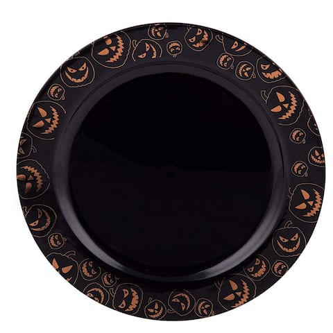 "Party Joy 200-Pcs Plastic Dinnerware Set, Halloween Plates, Pumpkins Collection,(200) 7.5"" Salad Plates"