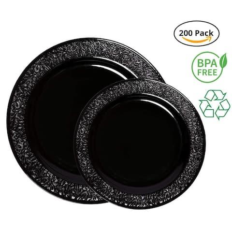 Party Joy 200-Pcs Plastic Dinnerware Set, Lace Collection,(100) Dinner Plates &(100) Salad Plates(Black)
