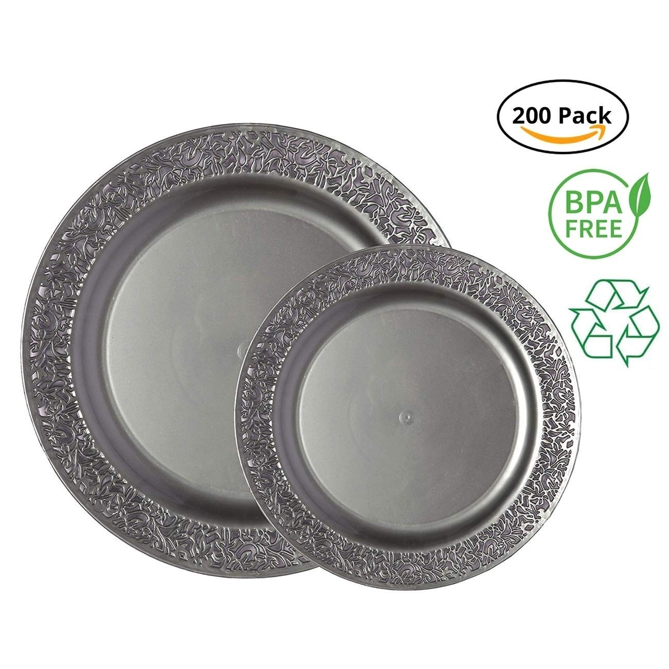 100 High Quality Strong Disposable Plastic Plates Microwave Safe 7/'/' WHITE Plate
