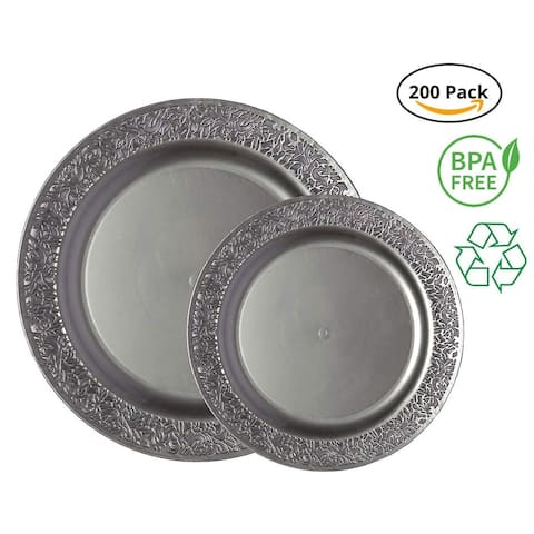 Party Joy 200-Pcs Plastic Dinnerware Set, Lace Collection,(100) Dinner Plates &(100) Salad Plates(Grey)