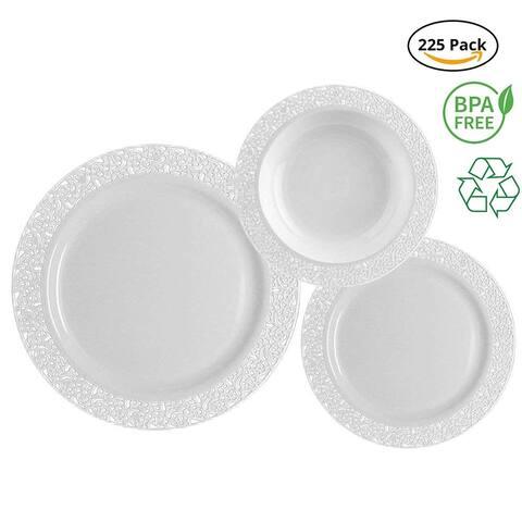 Party Joy 225-Pcs Royale White Plastic Dinner Set,(75) Dinner Plates,(75) Salad Plates &(75) Soup Bowls(White)