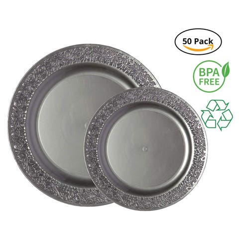 Party Joy 50-Pcs Plastic Dinnerware Set, Lace Collection,(25) Dinner Plates &(25) Salad Plates(Grey)
