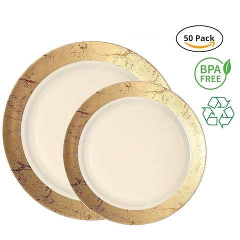 Party Joy 50-Pcs Plastic Dinnerware Set, Marble Collection,(25) Dinner Plates &(25) Salad Plates(Gold)