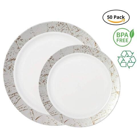 Party Joy 50-Pcs Plastic Dinnerware Set, Marble Collection,(25) Dinner Plates &(25) Salad Plates(Silver)