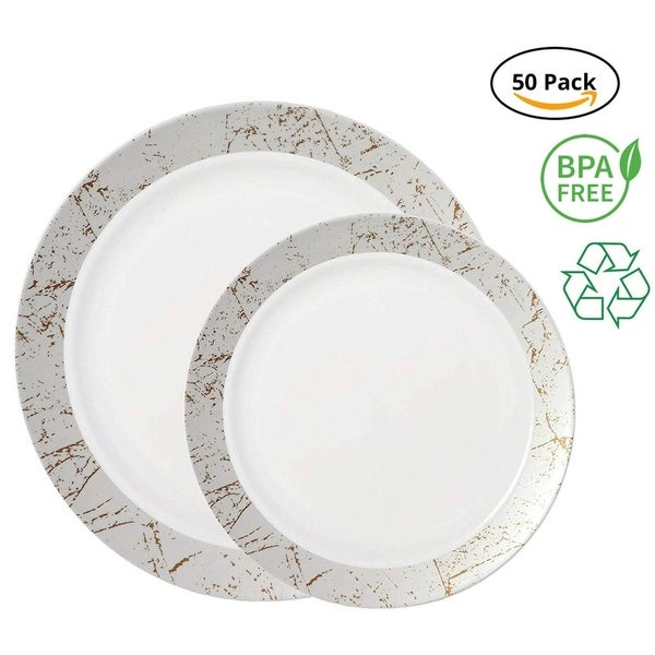 Party Joy 50-Pcs Plastic Dinnerware Set, Marble Collection,(25) Dinner Plates &(25) Salad Plates(Silver). Opens flyout.