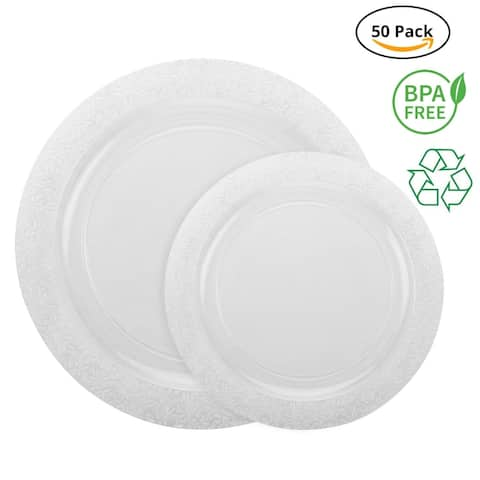 Party Joy 50-Pcs Plastic Dinnerware Set, Lace Collection,(25) Dinner Plates &(25) Salad Plates(Clear)