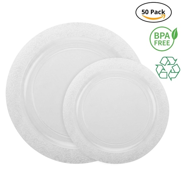 Party Joy 50-Pcs Plastic Dinnerware Set, Lace Collection,(25) Dinner Plates &(25) Salad Plates(Clear). Opens flyout.