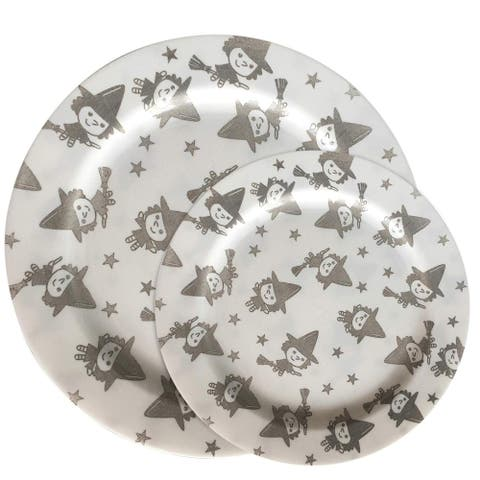 """Party Joy 50-Pcs Plastic Dinnerware Set, Happy Witches Collection,(25) 10.25"""" Dinner Plates &(25) 7.5"""" Salad Plates"""