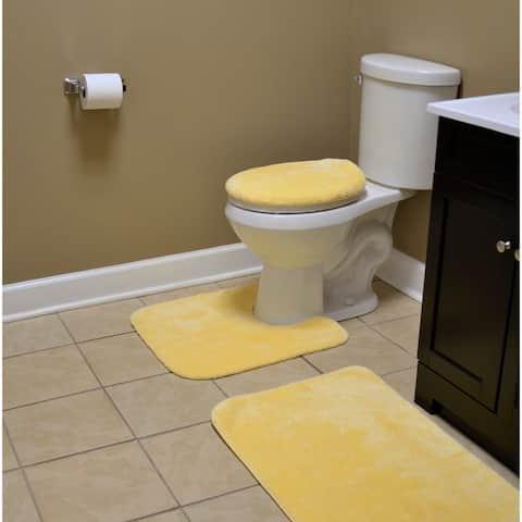 Traditional 3pc Nylon Washable Bathroom Rug Set