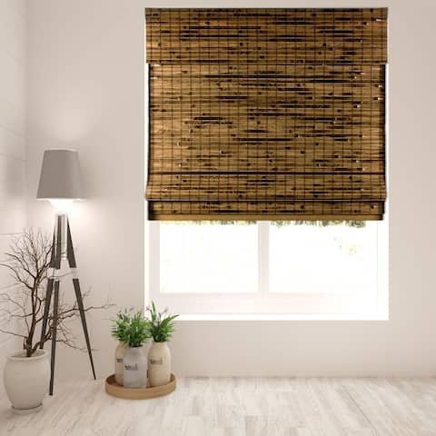 Arlo Blinds Cordless Lift Java Deep Bamboo Shades with 60 Inch Height