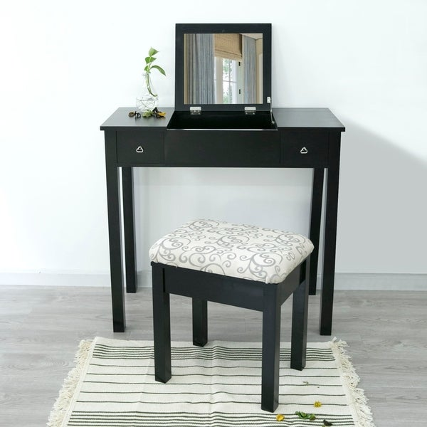 Blanche Makeup Vanity Table and Stool Set