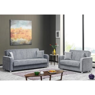 Elegance Fabric Upholstery Sofa Sleeper Bed with Storage - 86 W x 36 H x 34 D