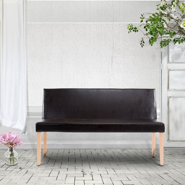 Shop Duval Faux Leather Wood Frame Bench Sofa Free