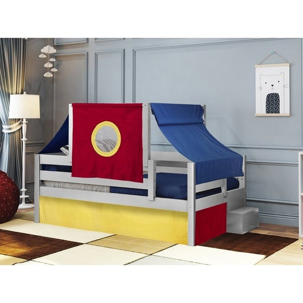 Castle Twin Bed With Step Red Blue And Yellow Tent Curtains