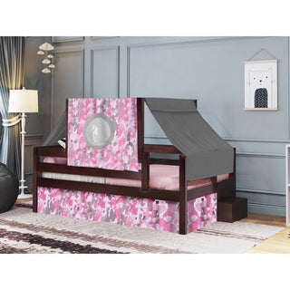 JACKPOT! Princess Twin Bed with Step Pink Camo Tent & Curtains, Cherry