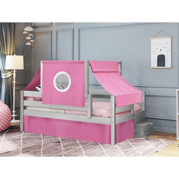 JACKPOT! Princess Twin Bed with Step Pink and White Tent & Curtains, Gray