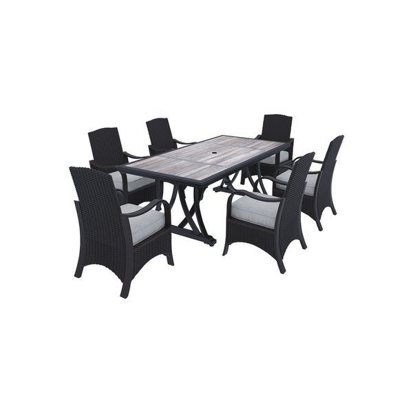 Marsh Creek 7-Piece Outdoor Dining Set - 6 Dining Chairs & Rectangular Dining Table - Brown