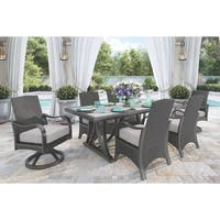 Marsh Creek 7-Piece Outdoor Dining Set - 4 Dining Chairs, 2 Swivel Chairs & Dining Table - Brown